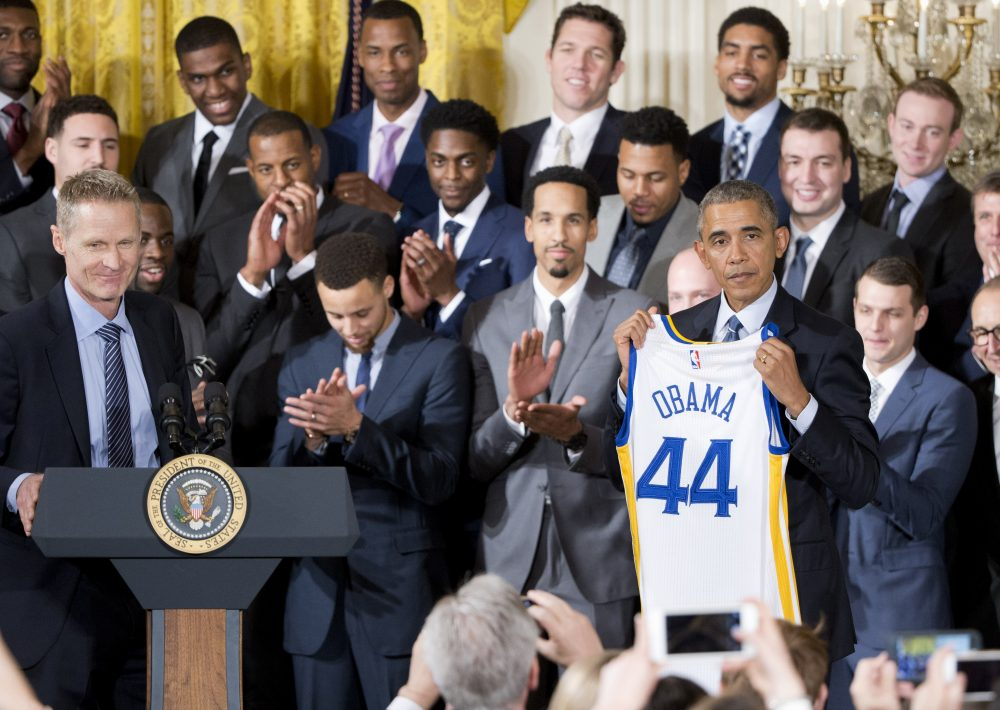 The Golden State Warriors visited the White House after their NBA Finals win in 2015. Will they be back this year? (Pablo Martinez Monsivais/AP)