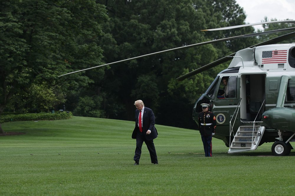 President Trump walks toward the White House after landing on the South Lawn on June 16, 2017, in Washington. (Alex Wong/Getty Images)