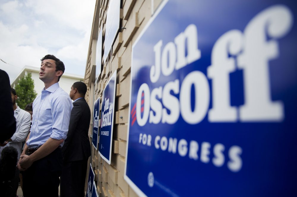 Jon Ossoff, Democratic candidate for Georgia's 6th Congressional District, talks to reporters during a stop at a campaign office in Chamblee, Ga., Monday, June 19, 2017. (David Goldman/AP)