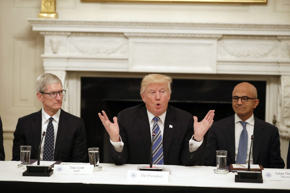 President Donald Trump, center, speaks as he is seated between Tim Cook, Chief Executive Officer of Apple, left, and Satya Nadella, Chief Executive Officer of Microsoft, right, during an American Technology Council roundtable in the State Dinning Room of the White House, Monday, June 19, 2017, in Washington. (Alex Brandon/AP)