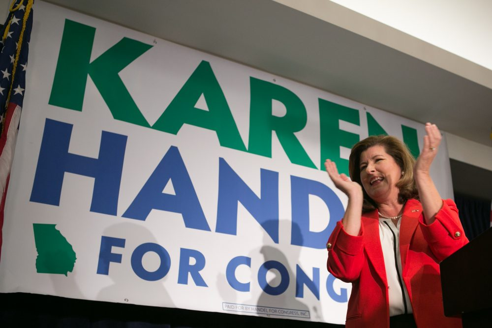 Republican candidate Karen Handel gives a victory speech to supporters on June 20, 2017 in Atlanta. Handel defeated Democrat Jon Ossoff in the special election in Georgia 6th Congressional District. (Jessica McGowan/Getty Images)