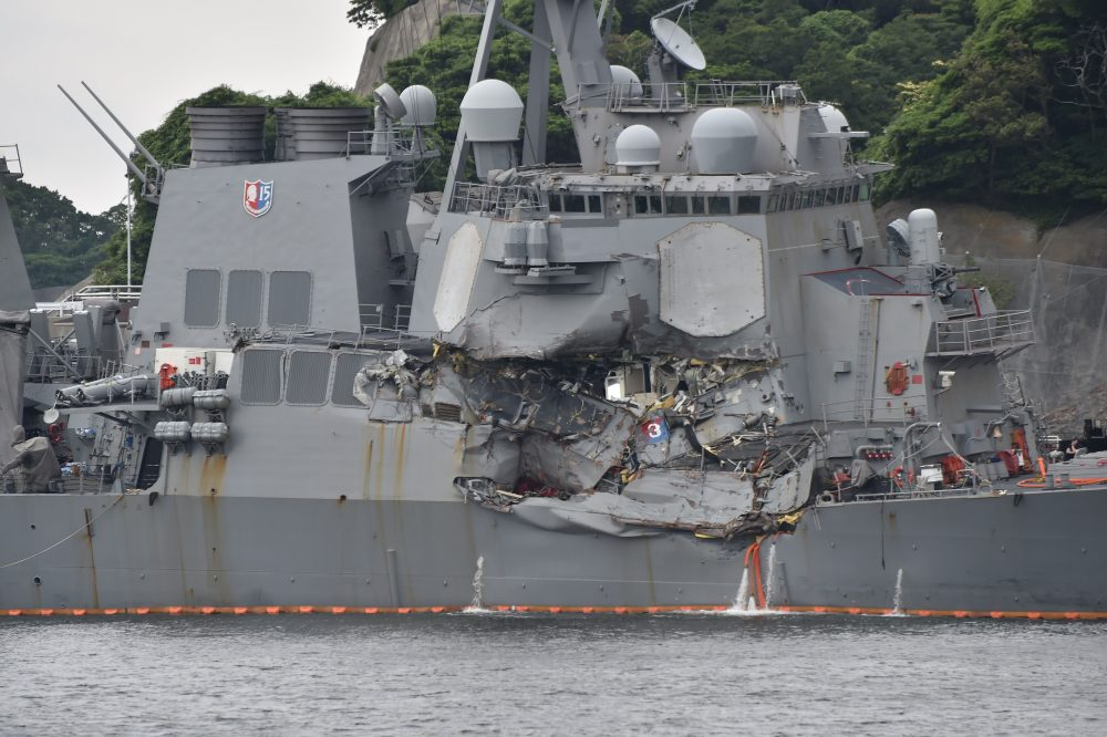 Damage is seen on the guided missile destroyer USS Fitzgerald at its mother port in Yokosuka, southwest of Tokyo on June 18, 2017. (Kazuhiro Nogi/AFP/Getty Images)