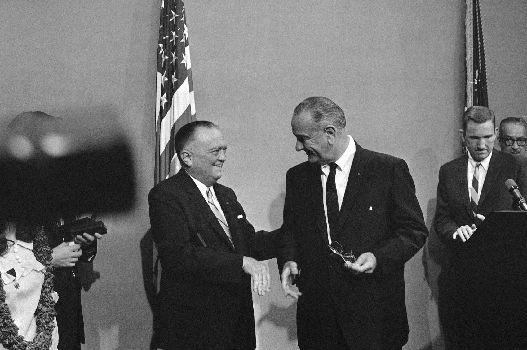 President Lyndon Johnson greets  J. Edgar Hoover, FBI director (left) at the White House in Washington on June 21, 1967. (Henry Burroughs/AP)