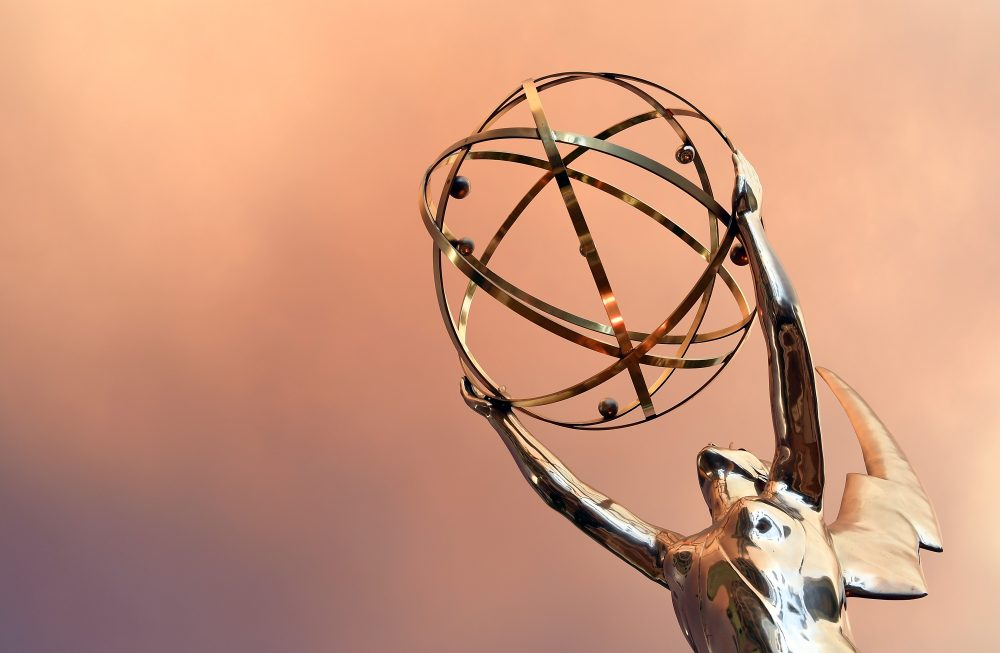 An Emmy statue is seen in front of the Television Academy during the red carpet for the 68th Emmy Awards in North Hollywood, Calif., in July 2016. (Angela Weiss/AFP/Getty Images)