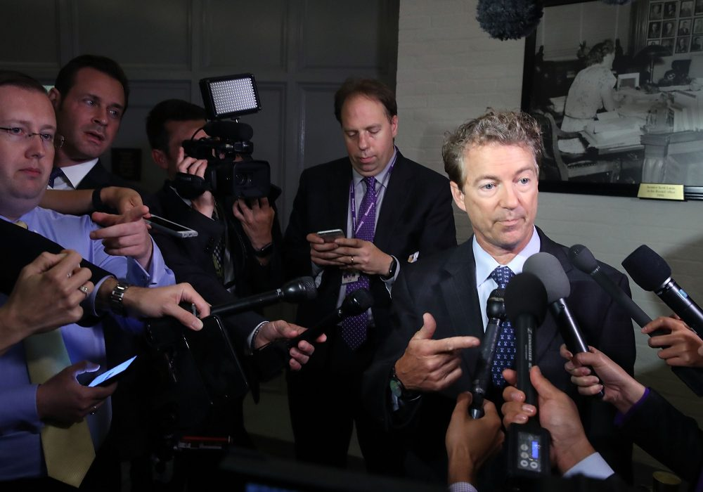 Sen. Rand Paul (R-Ky.) speaks to the media about the Senate Republican health care bill proposal, on June 22, 2017 in Washington, D.C. (Mark Wilson/Getty Images)