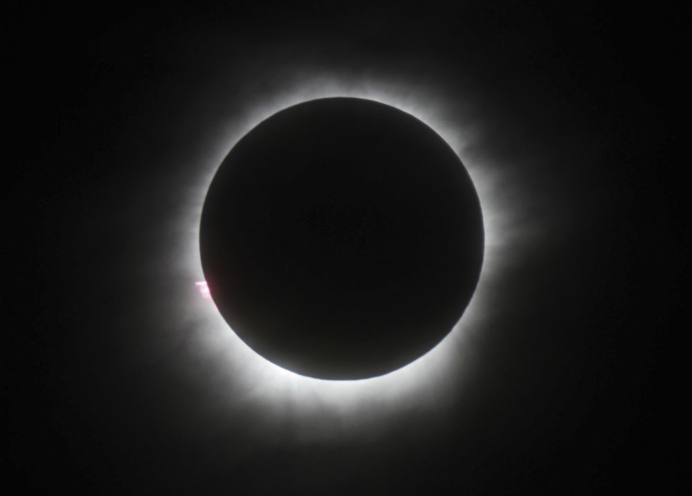 This March 9, 2016 file photo shows a total solar eclipse in Belitung, Indonesia. Wyoming state tourism officials say the solar eclipse passing over the entire length of Wyoming in August could give the state economy a much needed boost. (AP)