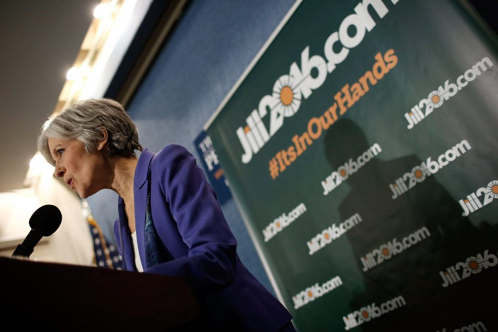 Green Party presidential nominee Jill Stein speaks at the National Press Club in February 2015 in Washington, D.C. (Win McNamee/Getty Images)