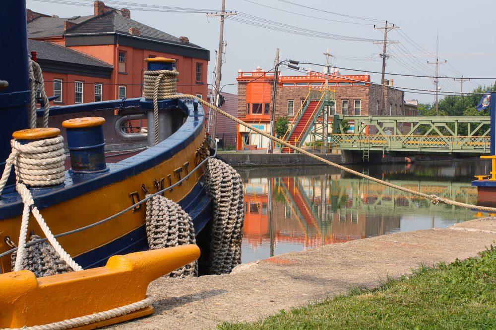 Tugboat and lift bridge on the Erie Canal in Albion, N.Y. (Stephen Drew)