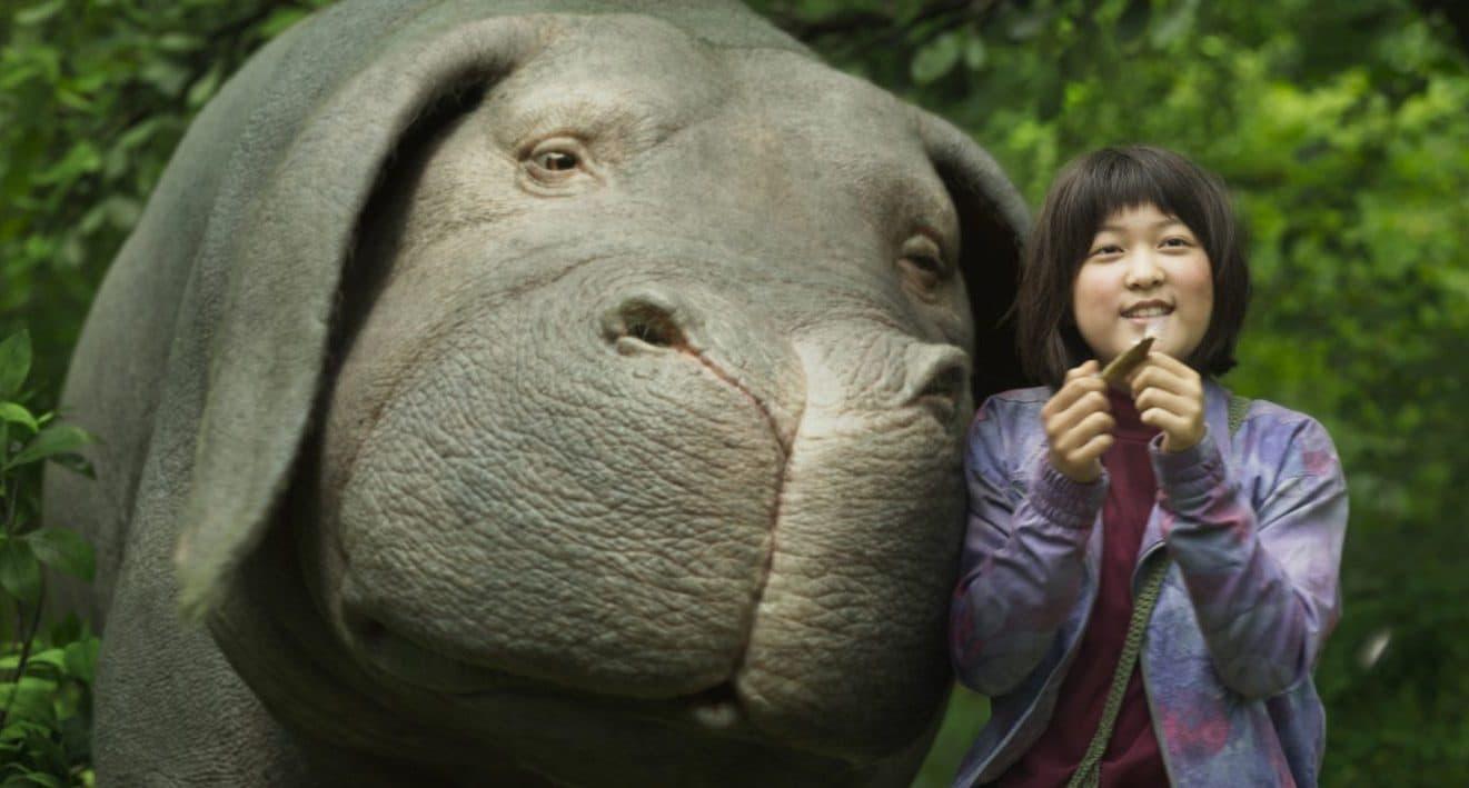 "Mija with her ""super pig"" Okja. (Courtesy Netflix)"