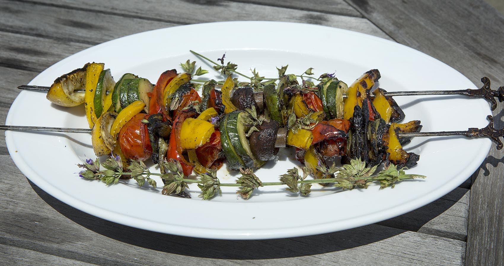 Kathy's grilled vegetable kebabs with chimichurri sauce. (Robin Lubbock/WBUR)