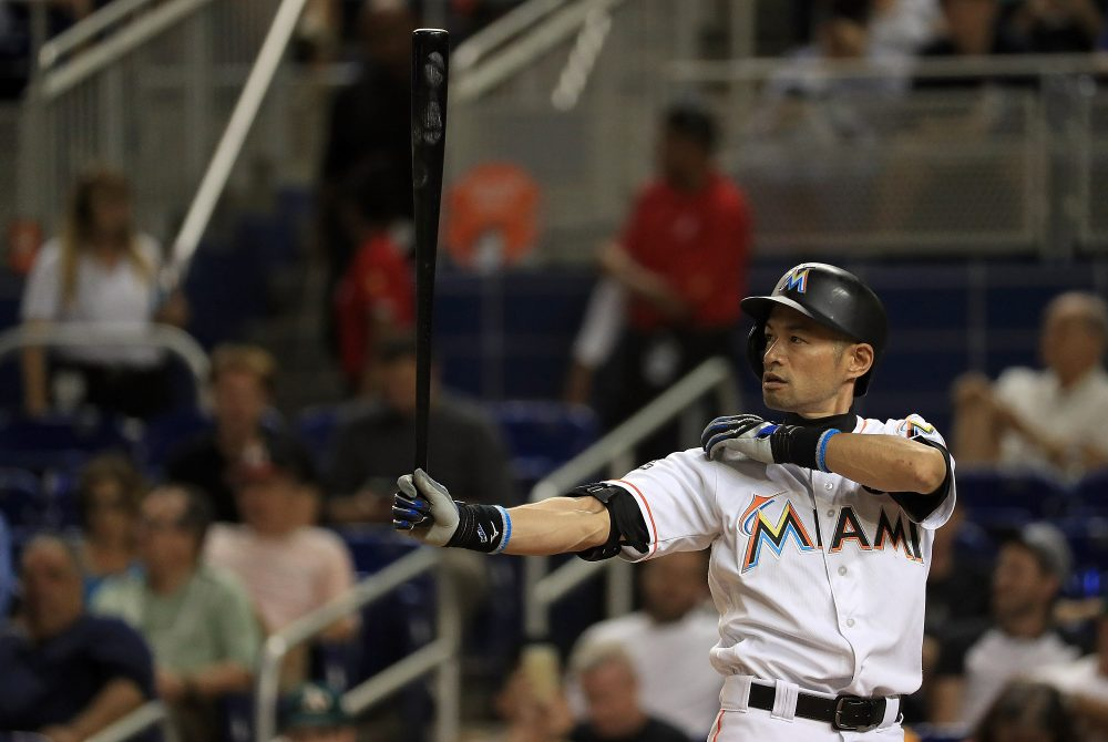 Ichiro Suzuki became the oldest major leaguer to start a game in center field since 1900. (Mike Ehrmann/Getty Images)