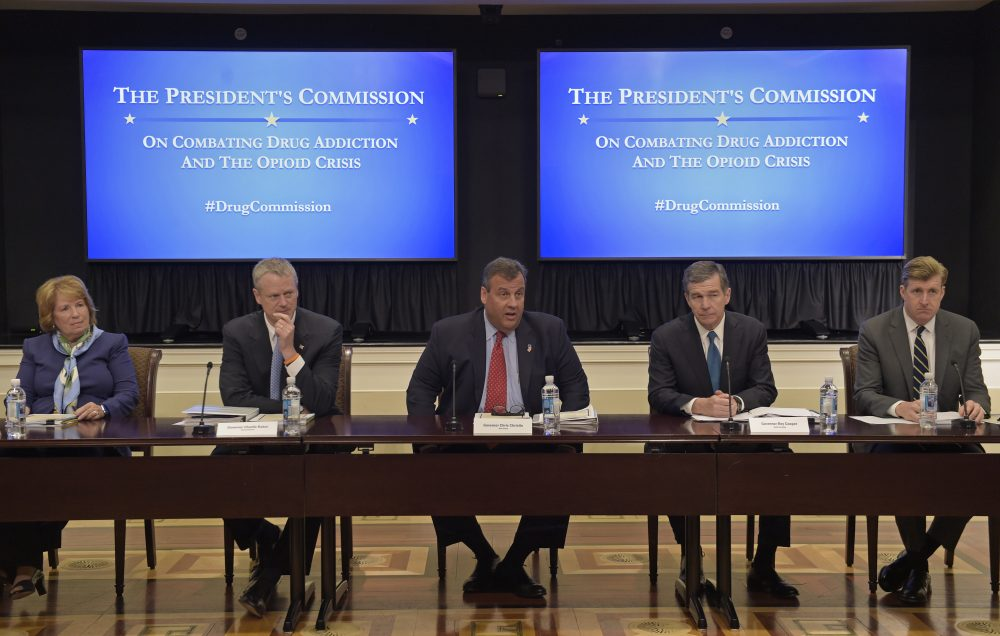 New Jersey Gov. Chris Christie, center, chairman of the President's Commission on Combating Drug Addiction and the Opioid Crisis, speaks at the beginning of the first meeting of the commission on combating drug addiction and the opioid crisis, Friday, June 16, 2017, in the Eisenhower Executive Office Building at the White House complex in Washington. (Susan Walsh/AP)