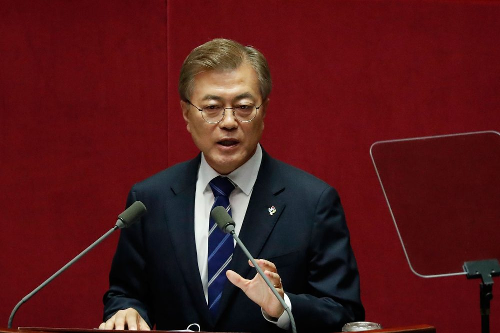South Korean President Moon Jae-in speaks at the National Assembly on the government budget on June 12, 2017 in Seoul, South Korea. (Jeon Heon-Kyun-Pool/Getty Images)