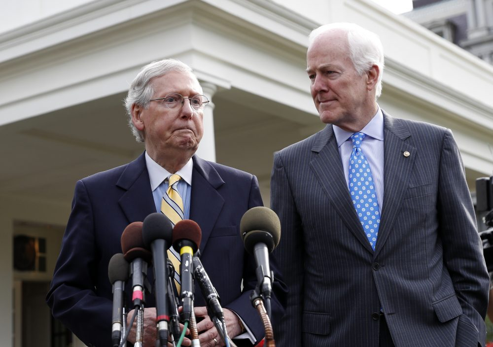 Senate Majority Leader Mitch McConnell of Ky., left, and Senate Majority Whip Sen. John Cornyn, R-Texas, speak with the media after they and other Senate Republicans had a meeting with President Trump at the White House, Tuesday, June 27, 2017, in Washington. (Alex Brandon/AP)