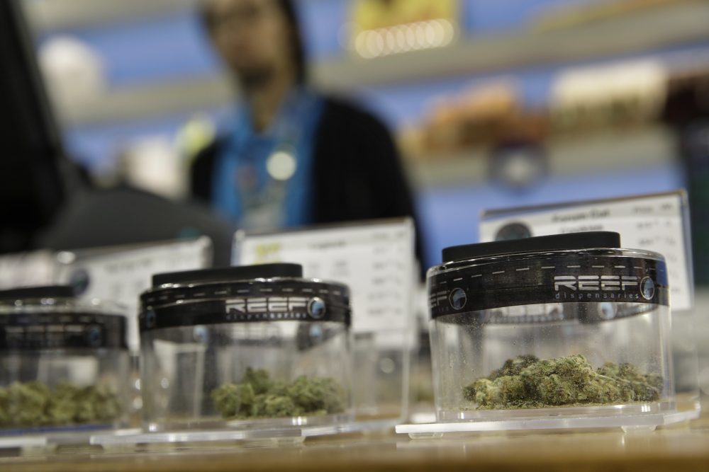Marijuana for sale is displayed at Reef Dispensaries Thursday in Las Vegas. (John Locher/AP)