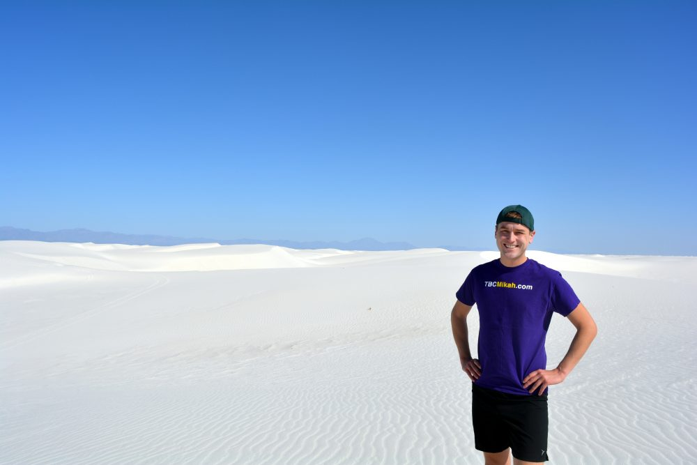 Meyer at the White Sands National Monument in New Mexico. (Courtesy Mikah Meyer)