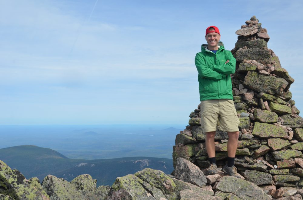 Meyer at the northern terminus of the Appalachian Trail in Maine. (Courtesy Mikah Meyer)