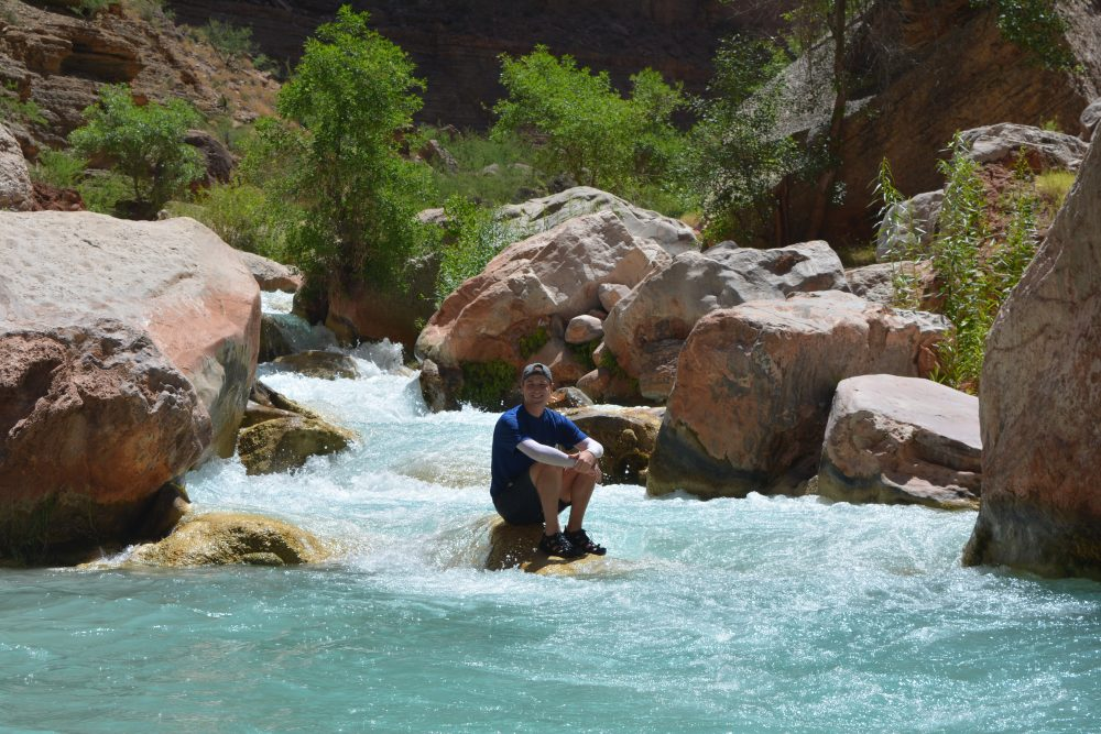 Meyer in the Havasu Creek, on a side hike while rafting on the Colorado River. (Courtesy Mikah Meyer)