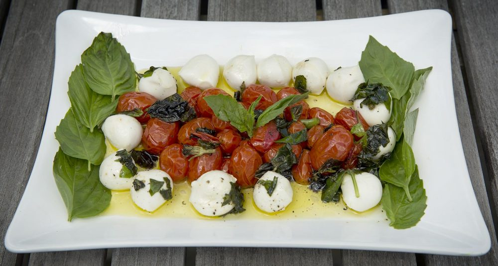 Kathy's roasted cherry tomato and basil caprese salad. (Robin Lubbock/WBUR)