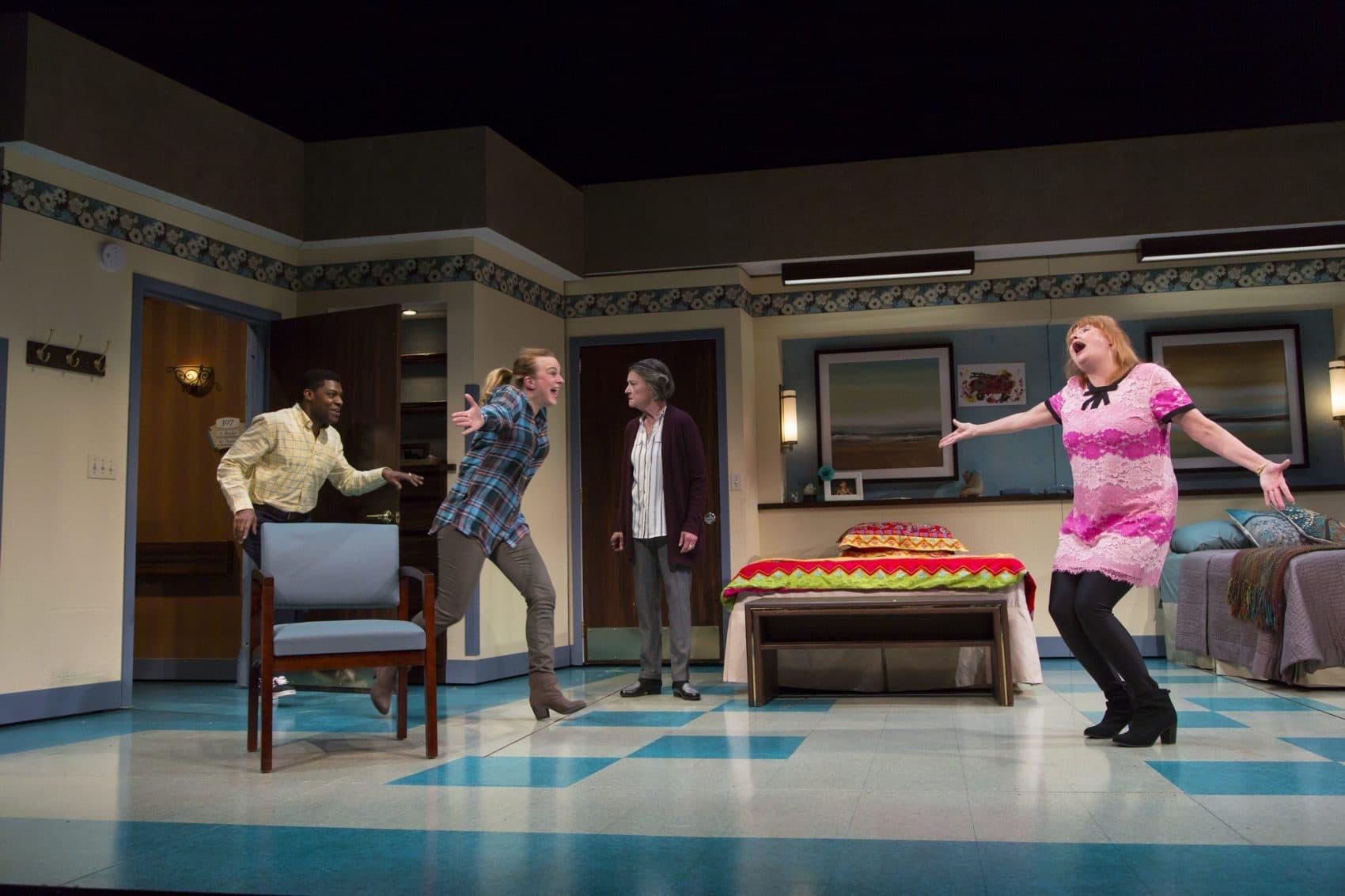 "(L-R) Richard Prioleau, Laura Latreille, Nancy E. Carroll, and Annie Golden in ""Ripcord."" (Courtesy Huntington Theatre Company)"