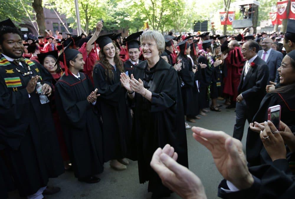 Harvard President Drew Faust is seen during the school's 2016 commencement exercises. (Steven Senne/AP)