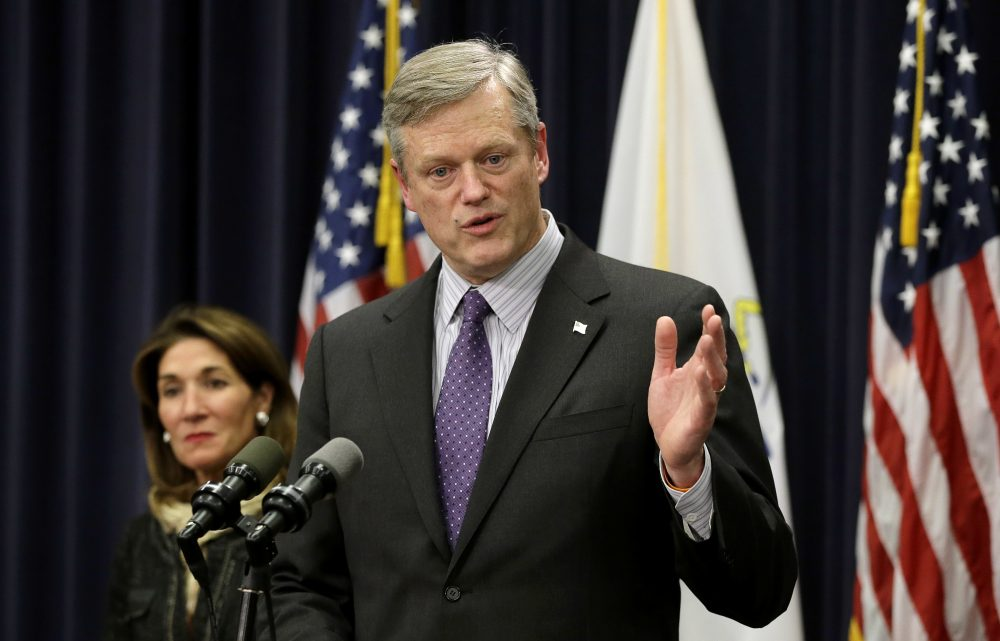 Gov. Charlie Baker speaks to the reporters during a January press conference. (Steven Senne/AP)