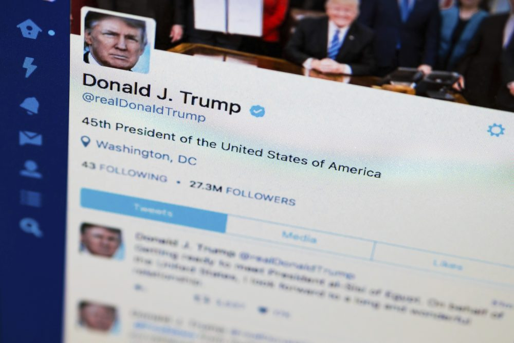 President Donald Trump's Twitter feed is photographed on a computer screen in Washington, Monday. April 3, 2017. (AP/J. David Ake)