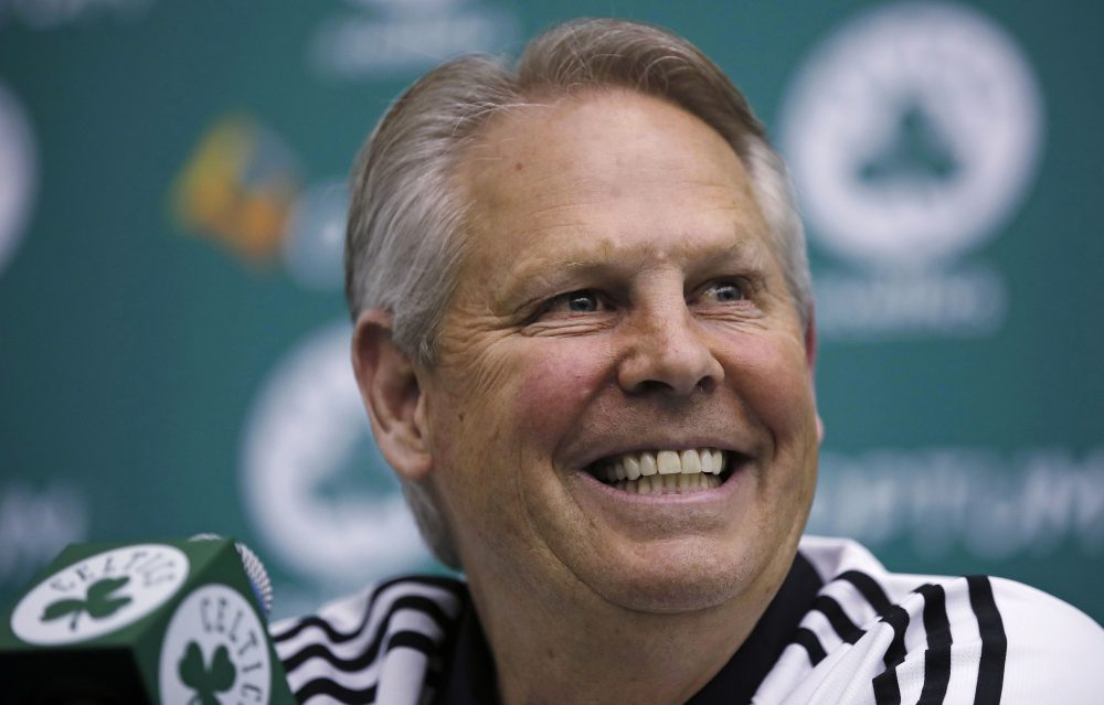Danny Ainge, Boston Celtics president of basketball operations, smiles as he addresses reporters at the team's training facility in Waltham, Mass., Tuesday, May 16, 2017. The Celtics won the NBA draft lottery, capitalizing on a trade they made with the Brooklyn Nets four years ago. (AP Photo/Charles Krupa)