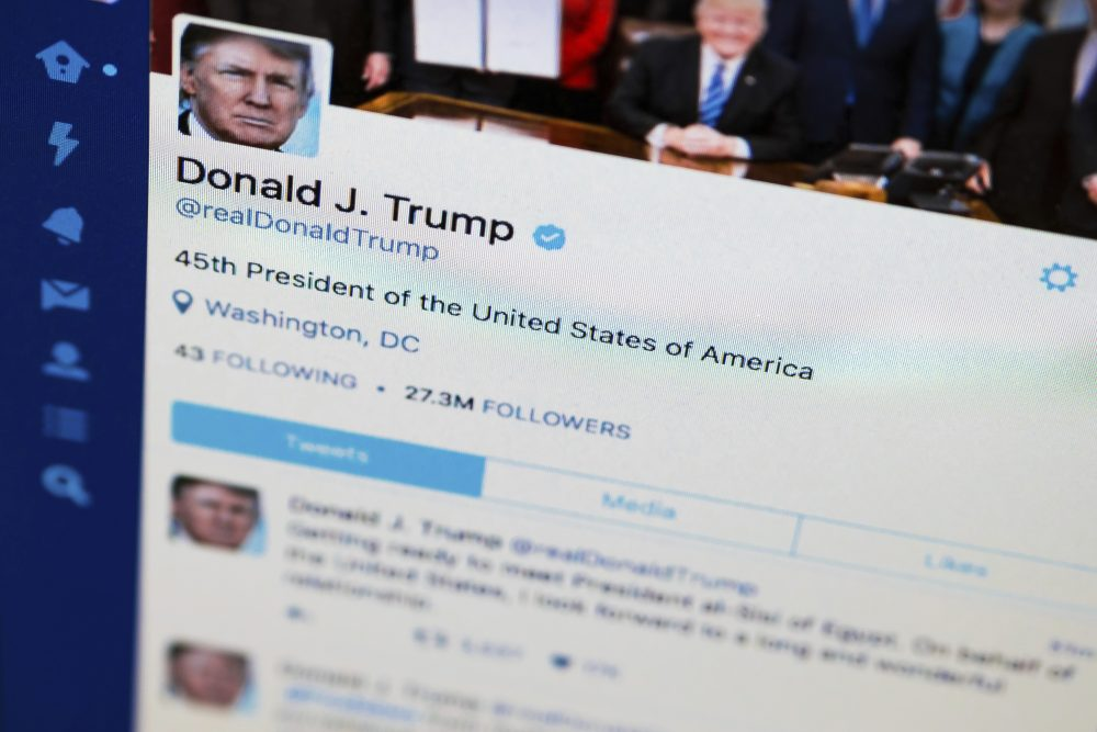 Don't expect real meaning from @realDonaldTrump's tweets. That's not what they're for, writes Julie Wittes Schlack. This April 3, 2017, photo shows President Donald Trump's tweeter feed on a computer screen. (J. David Ake/ AP)