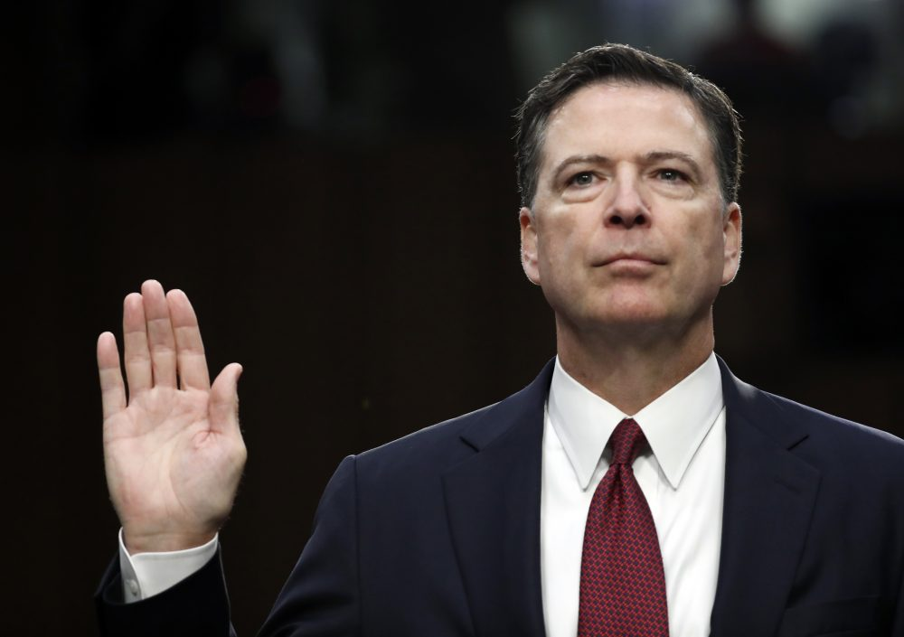 Former FBI Director James Comey is sworn in during a Senate Intelligence Committee hearing on Thursday. (Alex Brandon/AP)