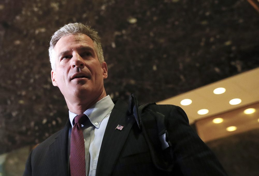 In this 2016 file photo, former Massachusetts Sen. Scott Brown talks with media at Trump Tower in New York. The Senate on Thursday confirmed Brown as U.S. ambassador to New Zealand. (Carolyn Kaster/AP)
