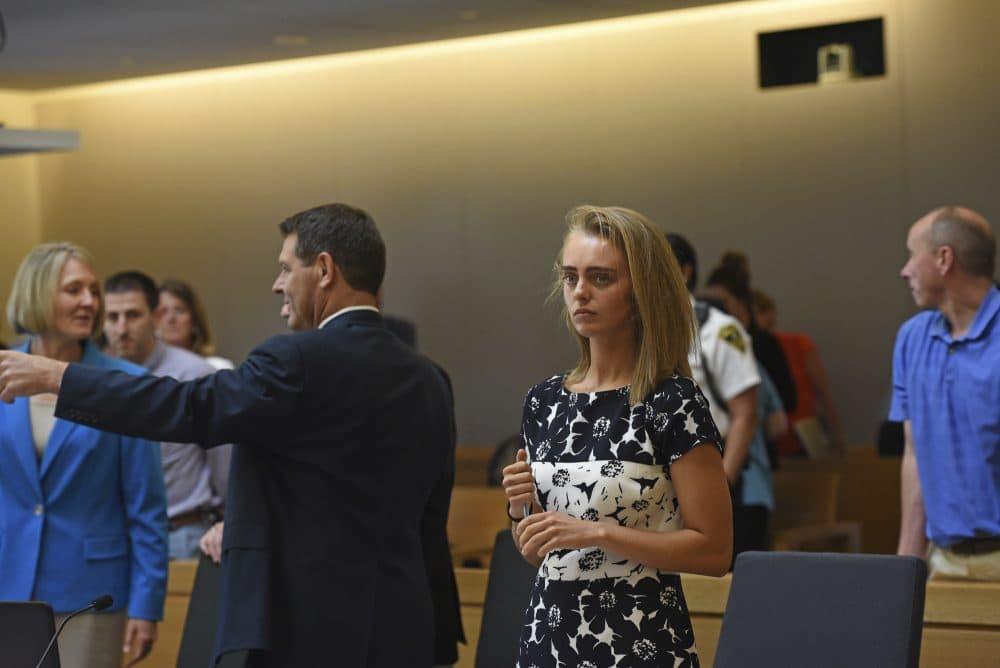 Michelle Carter is seen in a Taunton courtroom Monday. (Faith Ninivaggi/The Boston Herald via AP, Pool)
