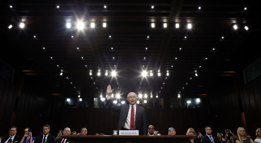 Attorney General Jeff Sessions is sworn-in on Capitol Hill Tuesday. (Alex Brandon/AP)