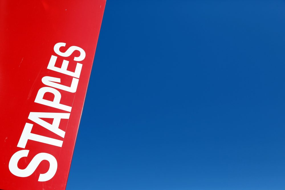 This 2016 file photo shows a Staples store sign in New York. (Mark Lennihan/AP)