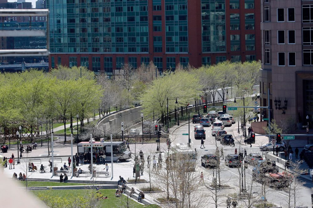 A view of Rose Fitzgerald Kennedy Greenway, left, and Purchase Street, right, on April 28, 2016. (Bill Sikes/AP)