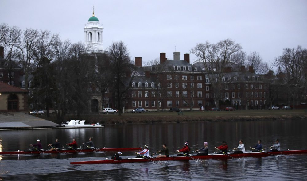 The university has sent a disturbing message about second chances, due process and the swift and sudden nature of thought policing, writes Joanna Weiss. In this photo, rowers paddle down the Charles River near the campus of Harvard University in Cambridge, Mass., Tuesday, March 7, 2017. (Charles Krupa/ AP)