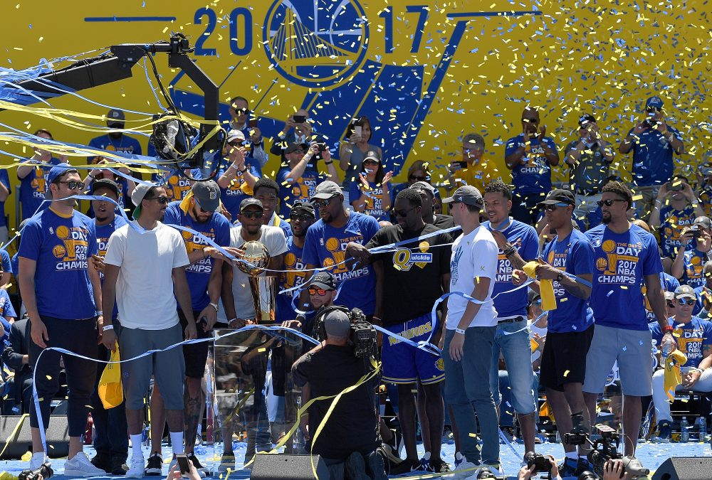 The Golden State Warriors celebrated their second championship in three years. (Thearon W. Henderson/Getty Images)