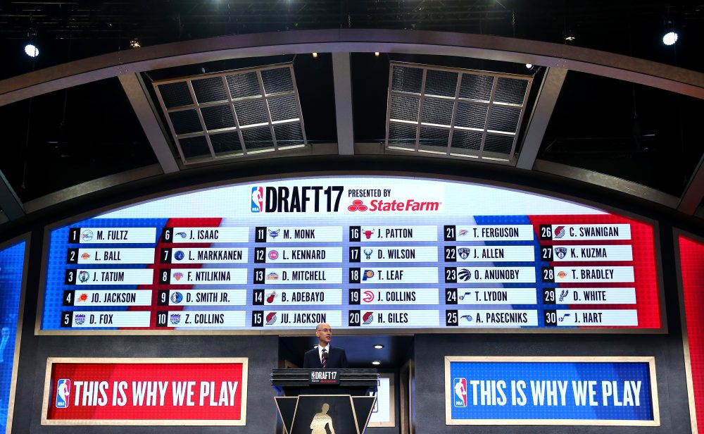 NEW YORK, NY - JUNE 22: NBA Commissioner speaks as the draft board is seen displaying picks 1 through 30 after the first round of the 2017 NBA Draft at Barclays Center on June 22, 2017 in New York City. NOTE TO USER: User expressly acknowledges and agrees that, by downloading and or using this photograph, User is consenting to the terms and conditions of the Getty Images License Agreement.  (Photo by Mike Stobe/Getty Images)