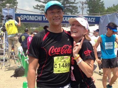 Vanessa Oshima and her husband Yasu at a road race in Japan. (Courtesy)