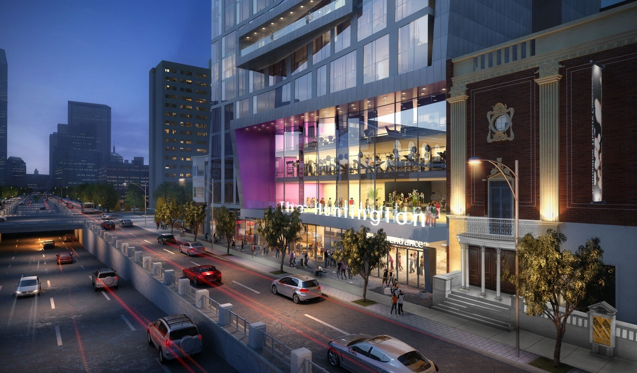 A rendering of the remodeled Huntington Theatre Company and the adjacent housing development. (Courtesy of BLDUP and Stantec)