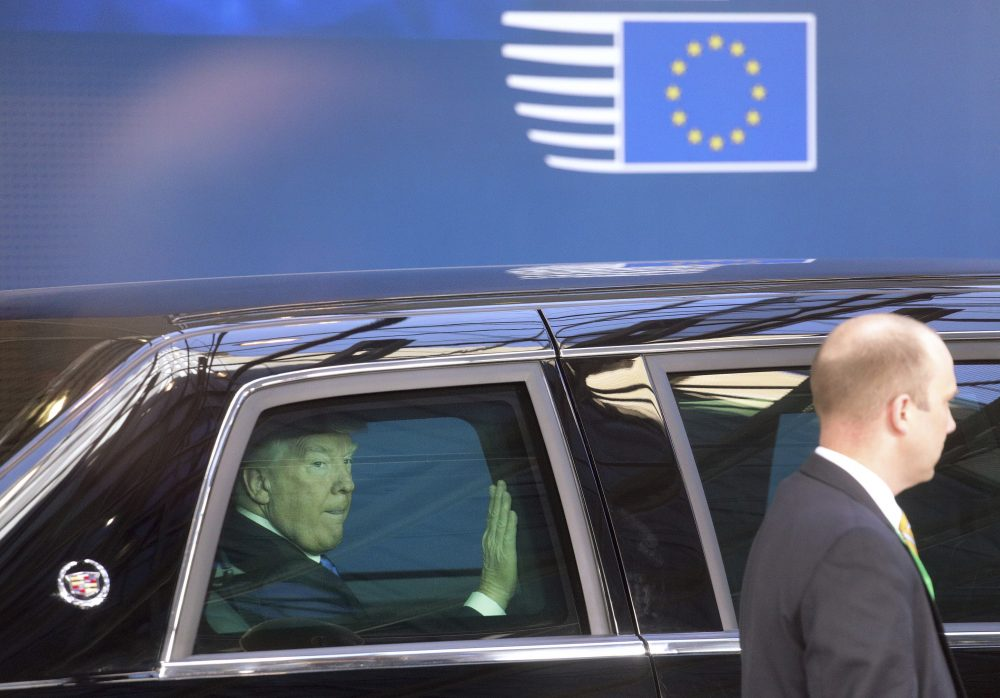 This month marks the 70th anniversary of the Marshall Plan, writes Rich Barlow. We mark that anniversary as President Trump proposes to chainsaw foreign aid. Pictured: President Trump leaves the Europa building in Brussels after meeting EU officials Thursday, May 25, 2017.  (Olivier Matthys/AP)