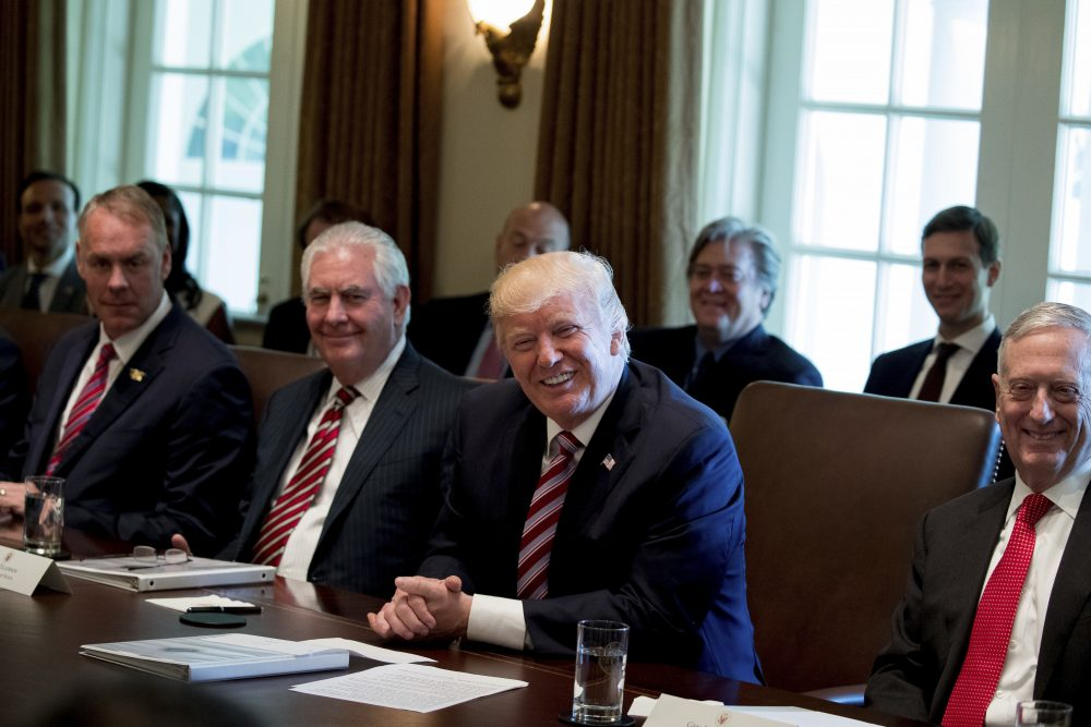 It's time to demand service from our president, not to offer servitude, writes Tiziana Dearing. Pictured: President Trump with, from left, Interior Secretary Ryan Zinke, Secretary of State Rex Tillerson and Defense Secretary Jim Mattis, during a Cabinet meeting, Monday, June 12, 2017 in Washington. (Andrew Harnik/AP)