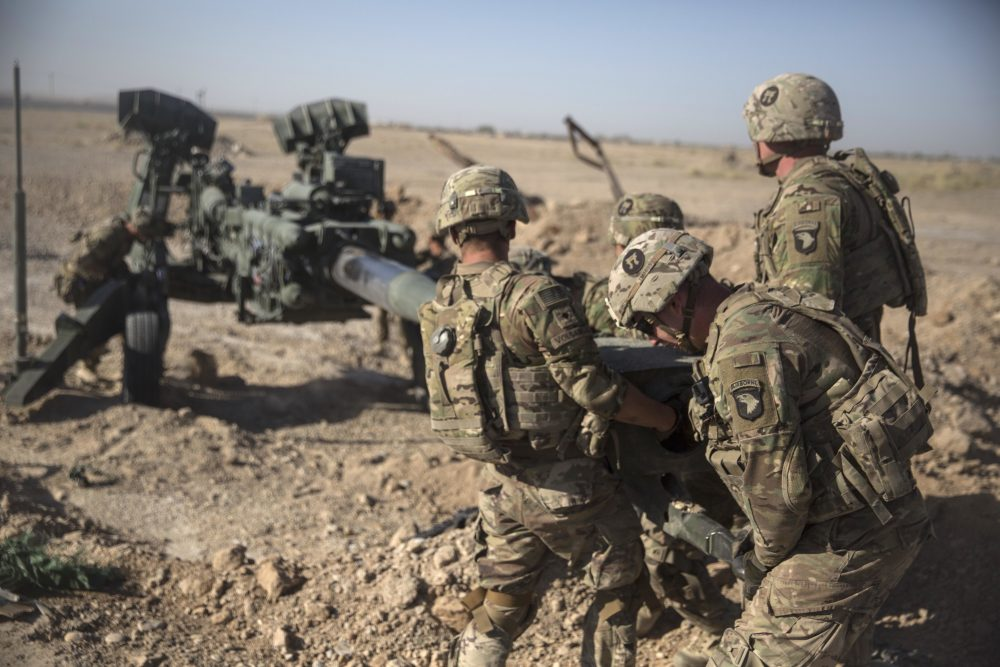 U.S. Soldiers with Task Force Iron maneuver an M-777 howitzer at Bost Airfield, Afghanistan on June 10, 2017 (U.S. Marine Corps photo by Sgt. Justin T. Updegraff,/AP)
