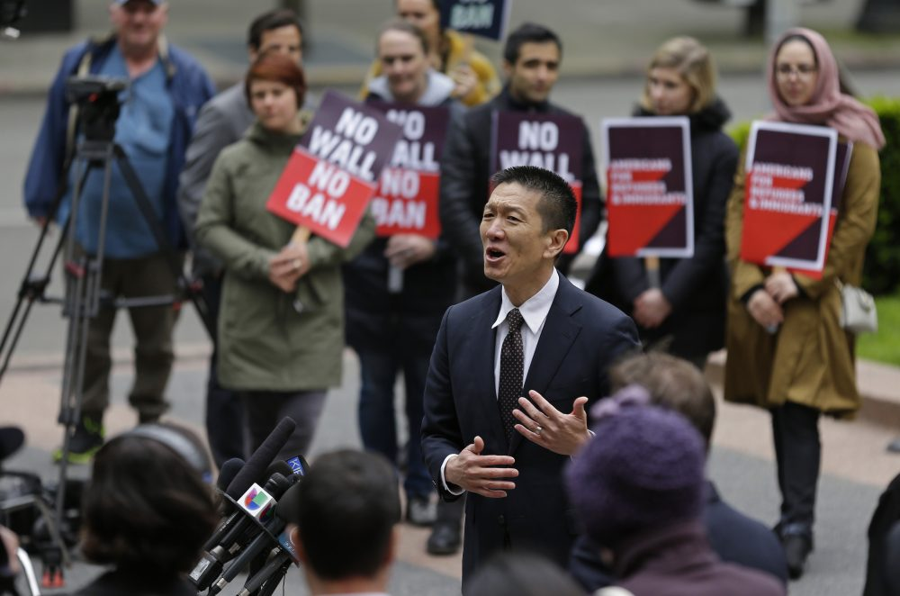 Hawaii Attorney General Doug Chin talks to reporters May 15, 2017 outside a federal courthouse in Seattle. A three-judge panel of the 9th U.S. Circuit Court of Appeals heard arguments Monday in Seattle over Hawaii's lawsuit challenging President Donald Trump's revised travel ban. (Ted S. Warren/AP)
