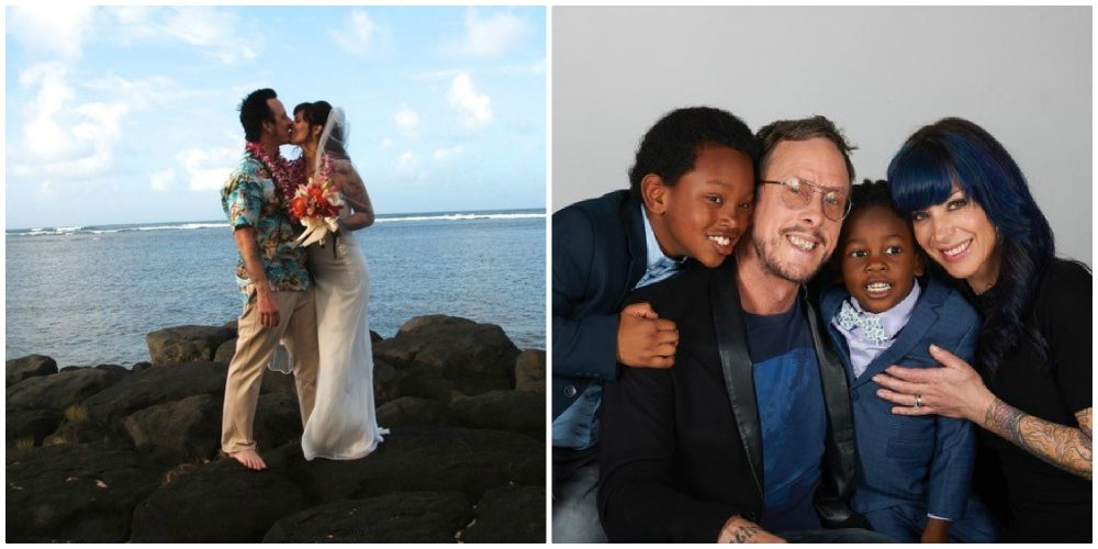 Left: Scott Shriner and Jillian Lauren getting married in Kauai. Right: Scott, Jillian and their sons Tariku (left) and Jovi (right).