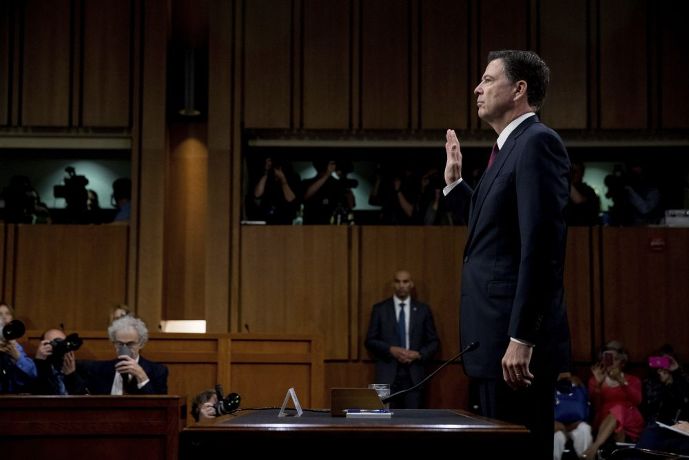 The former FBI director took the stand, an NSA contractor leaked details of Russia's activity in the U.S. election and Harvard said no to offensive memes. All that and more from Tom Keane's weekly news roundup. Pictured: Former FBI director James Comey is sworn in during a Senate Intelligence Committee hearing on Capitol Hill, Thursday, June 8, 2017, in Washington. (AP Photo/Andrew Harnik)