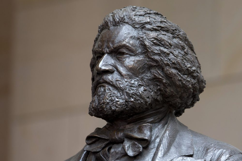 A bronze statue of Frederick Douglass in the Emancipation Hall of the United States Visitor Center on Capitol Hill in Washington, D.C. (Carolyn Kaster/AP)