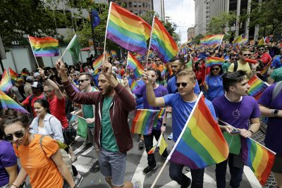 A group of marchers walk at the Pride parade in San Francisco, Sunday, June 25, 2017. (Jeff Chiu/AP)