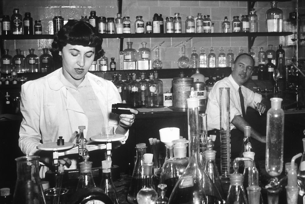 My mother wanted a man's career and man's salary, writes Irene Sege. She refused to learn to type as insurance against a job as a secretary. Pictured: Researchers conduct some of the earliest chemotherapy tests at the National Cancer Institute, about 1950. (National Cancer Institute, National Institutes of Health/Flickr)