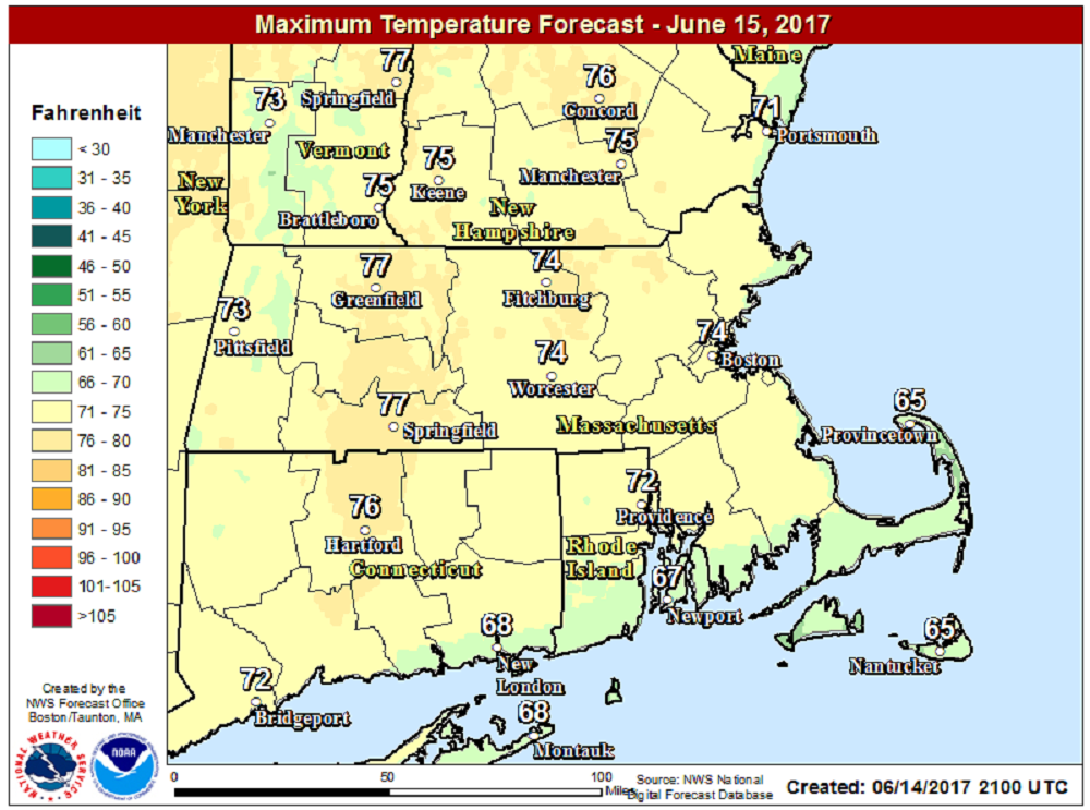 Temperatures will be coolest along the north shore of Cape Ann and Cape Cod today. (Courtesy NOAA)
